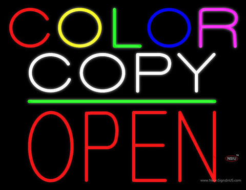 Color Copy Block Open Green Line Real Neon Glass Tube Neon Sign