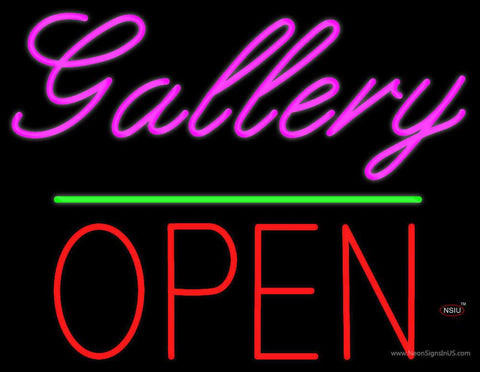 Gallery Block Open Green Line Real Neon Glass Tube Neon Sign