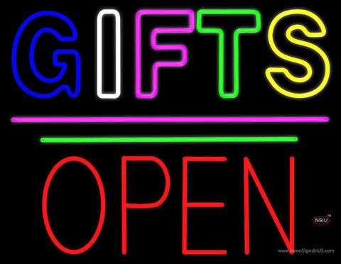 Gifts Block Open Pink Line Real Neon Glass Tube Neon Sign