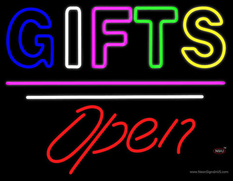 Gifts Block Open White Line Real Neon Glass Tube Neon Sign
