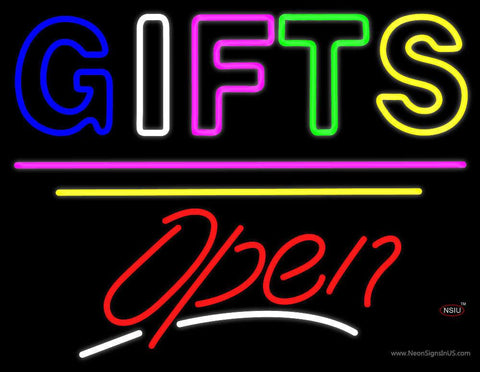 Gifts Block Open Yellow Line Real Neon Glass Tube Neon Sign