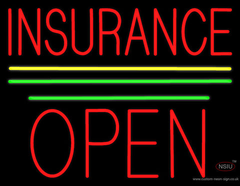 Red Insurance Open Block Yellow Green Line Neon Sign