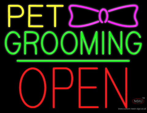 Pet Grooming Logo Block Red Open Green Line Neon Sign