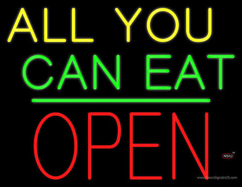 All You Can Eat Block Open Green Line Real Neon Glass Tube Neon Sign