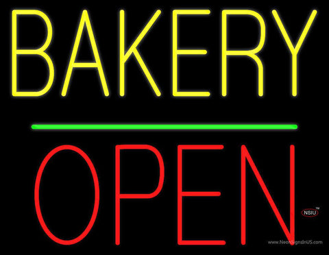 Bakery Block Open Green Line Real Neon Glass Tube Neon Sign