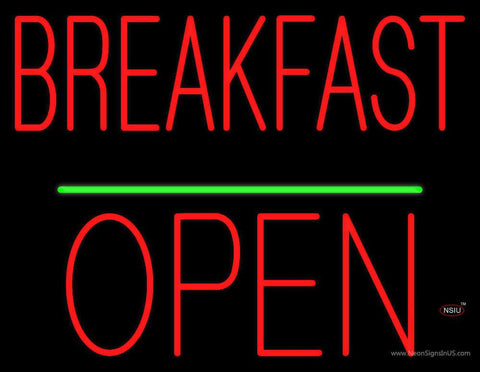 Breakfast Block Open Green Line Real Neon Glass Tube Neon Sign