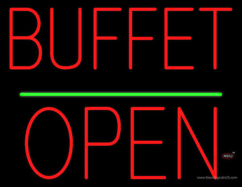Buffet Block Open Green Line Real Neon Glass Tube Neon Sign