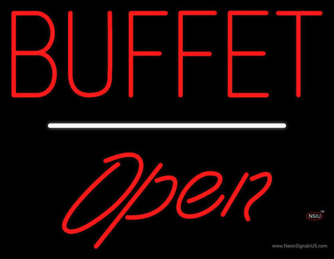 Block Buffet Open White Line Real Neon Glass Tube Neon Sign