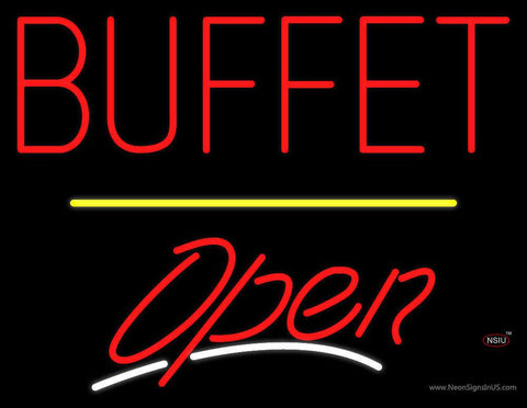 Block Buffet Open Yellow Line Real Neon Glass Tube Neon Sign