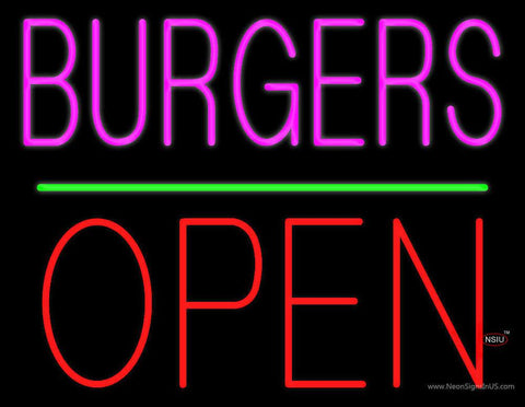 Burgers Block Open Green Line Real Neon Glass Tube Neon Sign
