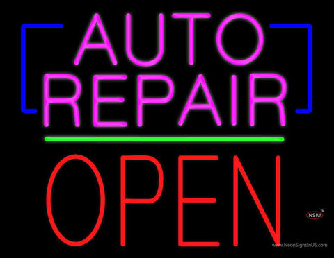 Auto Repair Open Block Green Line Real Neon Glass Tube Neon Sign