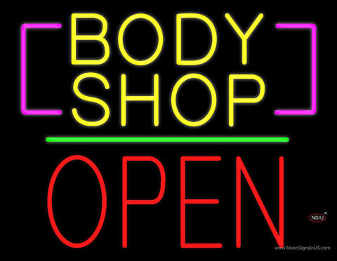 Body Shop Open Block Green Line Real Neon Glass Tube Neon Sign