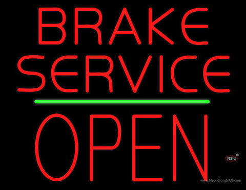 Brake Service Block Open Green Line Real Neon Glass Tube Neon Sign