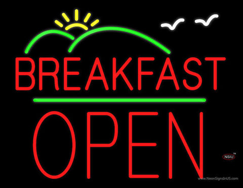 Breakfast Logo Block Open Green Line Real Neon Glass Tube Neon Sign
