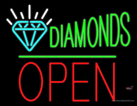 Diamonds Logo Block Open Green Line Real Neon Glass Tube Neon Sign