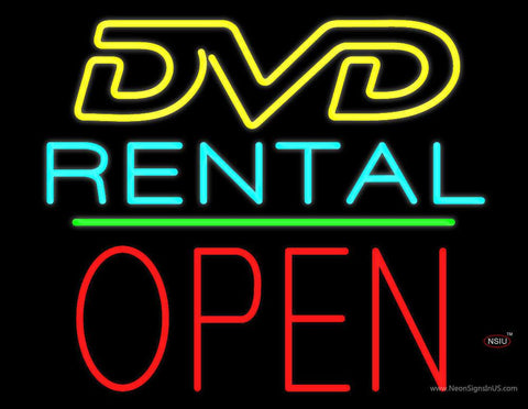 DVD Rental Open Block Green Line Real Neon Glass Tube Neon Sign