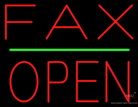 Red Fax Block Open Green Line Neon Sign