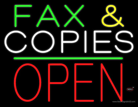 Fax and Copies Block Open Green Line Real Neon Glass Tube Neon Sign