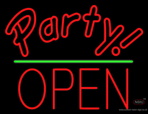 Party Green Line Open Block Neon Sign