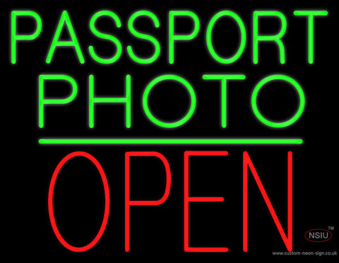 Passport Photo Open Block Green Line Neon Sign