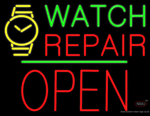 Watch Repair Block Open Green Line Neon Sign