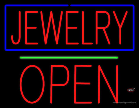 Jewelry Open Block Green Line Real Neon Glass Tube Neon Sign