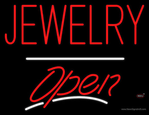Jewelry Block Open White Line Real Neon Glass Tube Neon Sign