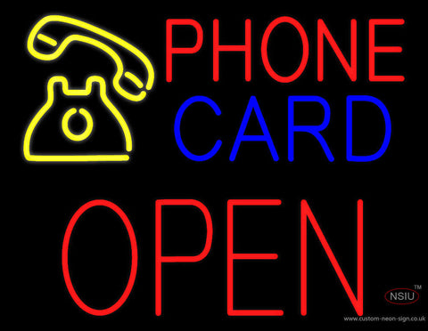 Phone Card Block Open Neon Sign