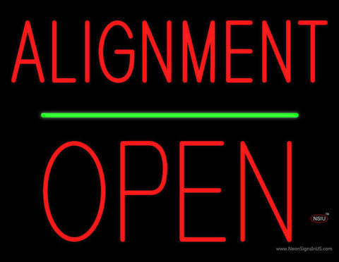 Alignment Open Block Green Line Real Neon Glass Tube Neon Sign