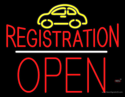 Auto Registration Open Block White Line Real Neon Glass Tube Neon Sign