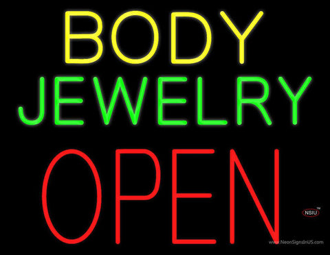 Body Jewelry Open in Block Real Neon Glass Tube Neon Sign