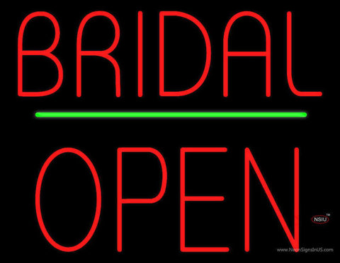 Bridal Block Open Green Line Real Neon Glass Tube Neon Sign