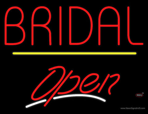 Bridal Block Yellow Line Open Real Neon Glass Tube Neon Sign