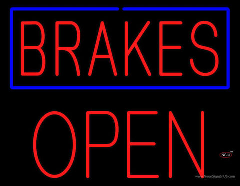 Brakes Blue Border Open Block Real Neon Glass Tube Neon Sign