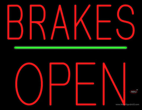 Brakes Open Block Green Line Real Neon Glass Tube Neon Sign