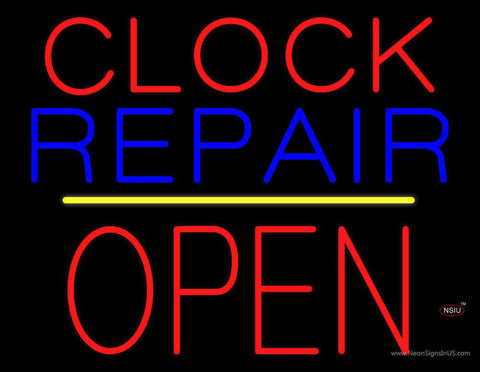 Clock Repair Block Open Yellow Line Real Neon Glass Tube Neon Sign