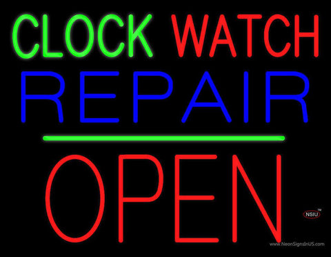 Clock Watch Repair Block Open Green Line Real Neon Glass Tube Neon Sign
