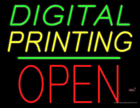 Digital Printing Block Open Green Line Real Neon Glass Tube Neon Sign
