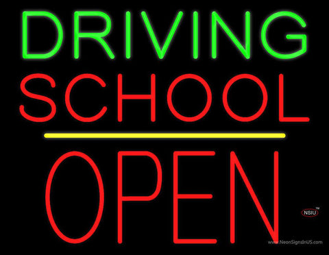 Driving School Open Block Yellow Line Real Neon Glass Tube Neon Sign