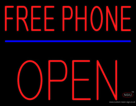 Red Free Phone Block Open Neon Sign