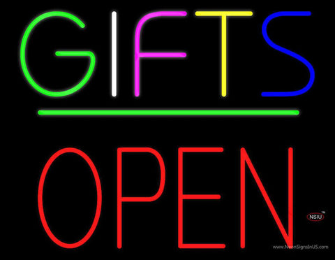 Gifts Block Open Green Line Real Neon Glass Tube Neon Sign