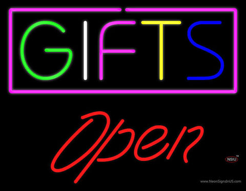 Gifts Block Open Red Real Neon Glass Tube Neon Sign