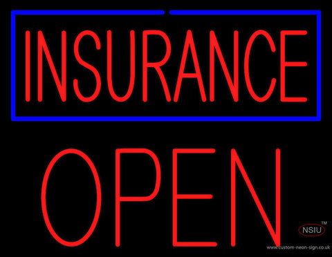 Red Insurance Blue Border Open Block Neon Sign