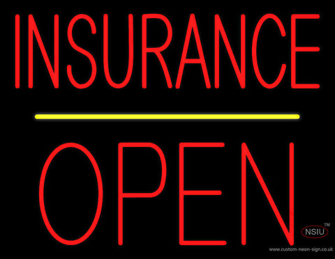 Red Insurance Block Open Yellow Line Neon Sign