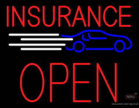 Red Insurance Open Block Car Logo Neon Sign
