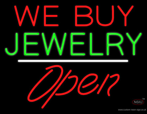 We Buy Jewelry Block Open White Line Real Neon Glass Tube Neon Sign