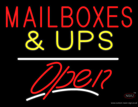 Mail Boxes and UPS Block Open White Line Neon Sign