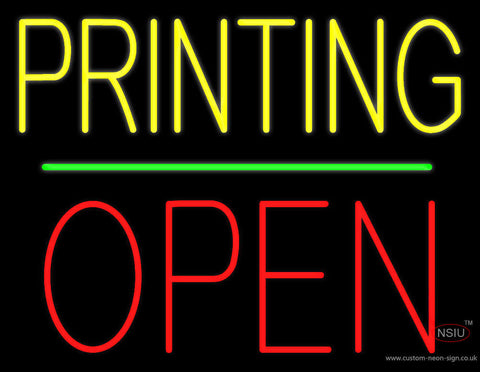 Yellow Printing Block Open Green Line Neon Sign