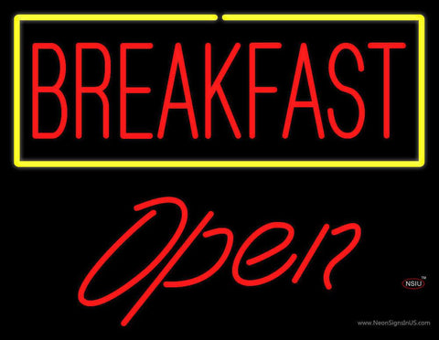 Block Breakfast with Blue Border Open Real Neon Glass Tube Neon Sign