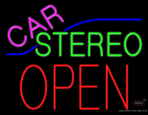 Pink Car Stereo Red Block Open Neon Sign